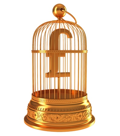 gb pound: Pound currency symbol in golden cage isolated over white