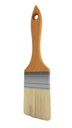 Renovation: wooden paintbrush isolated over white background Stock Photo