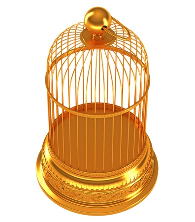 Top side view of Golden birdcage isolated over white background Stock Photo