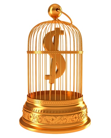 US dollar currency symbol in golden birdcage isolated over white Stock Photo - 9921941
