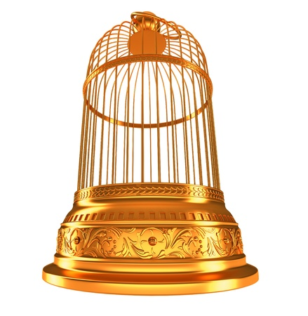 wide-angle bottom view of golden birdcage isolated on white  photo