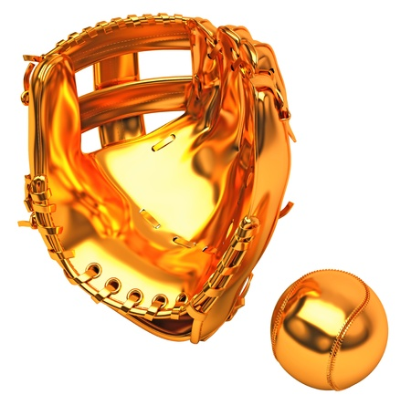 Sports in USA: golden baseball glove and ball over white background Stock Photo