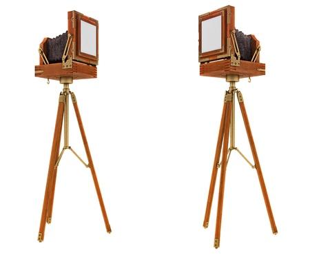 techniek: Achterkant uitzicht op vintage groot formaat camera geïsoleerd op wit Stockfoto
