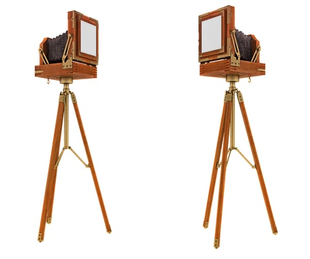 formats: Back Side views of vintage large format camera isolated on white