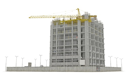 Construction site: building a skyscraper isolated over white