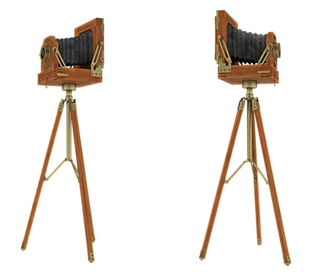 tripod: Side views of vintage large format camera isolated on white