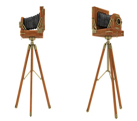 Side views of vintage large format camera isolated on white photo