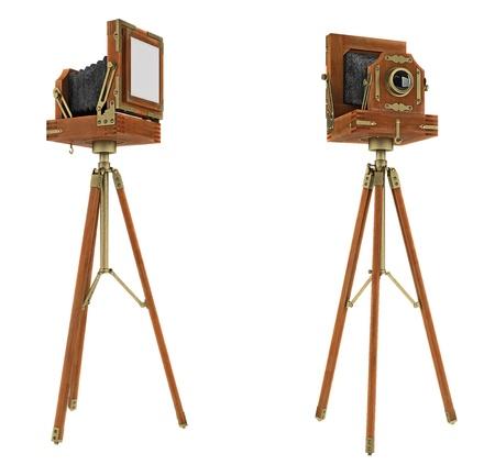 studio photography: Vintage large format camera isolated on white
