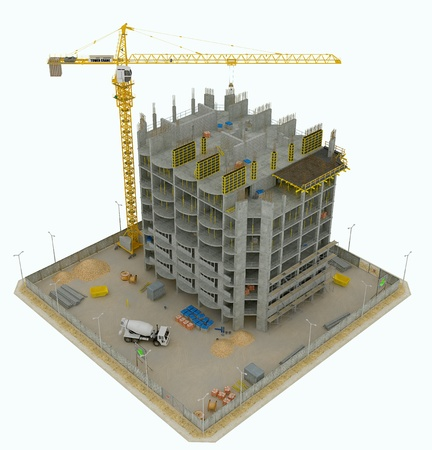 concrete block: Worksite: top side view of unfinished building and tower crane isolated on white