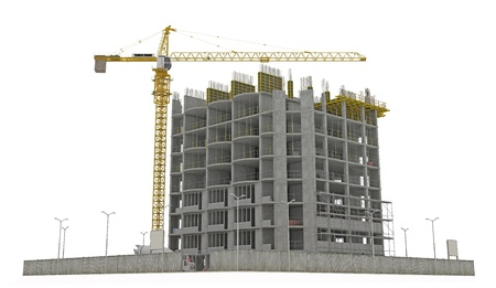 tower crane: Worksite: unfinished building and tower crane isolated over white background