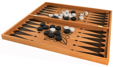 Games: backgammon with chips and dice isolated over white