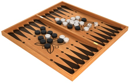 Leisure: backgammon with chips and dice isolated over white