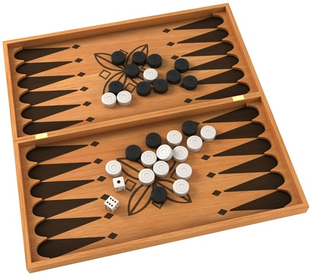 Top view of backgammon with chips and dice over white Stock Photo
