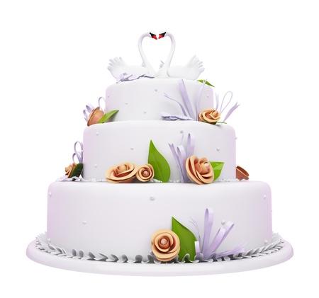 Torta nuziale con rose belle e cigni isolato su bianco Archivio Fotografico