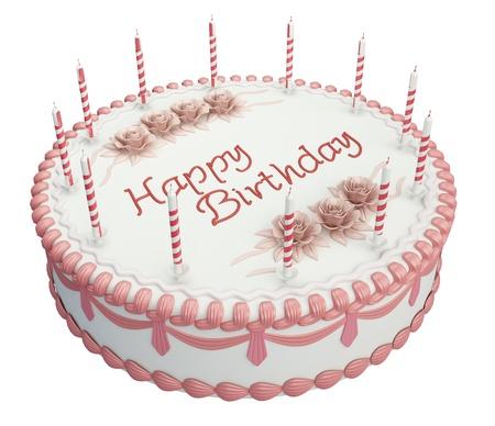 pastel de cumplea�os: Pastel de cumplea�os de saludos con velas y rosas aislados en blanco