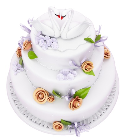 Wedding cake with roses and swans isolated over white Stock Photo