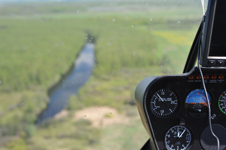 altimeter: Helicopter Cockpit, instrument and control panel