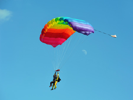 Tandem parachute against clear blue sky
