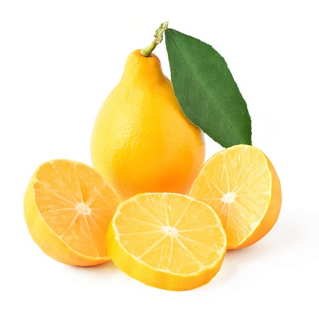 saved: Composition of a lemon with a leaf, two halves and pieces. Isolated photo on white with saved clipping path
