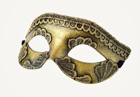 papier mache: Gold Venetian Carnival half mask handmade.  Made papier mache, acrylic paints and lace Stock Photo