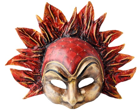 papiermache: Venetian Interior and carnaval mask embodying the element of fire, isolated on white  background.  Handmade Papier-mache with acrylic paints,  plaster, lacquer Stock Photo
