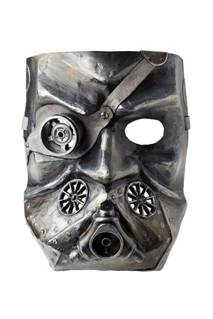 papiermache: Carnival mask handmade, isolated on white  background. Steampunk or Dieselpunk style. Made Papier-mache, plaster,  lacquer,  with leather, acrylic paints and accessories. White background with shadow