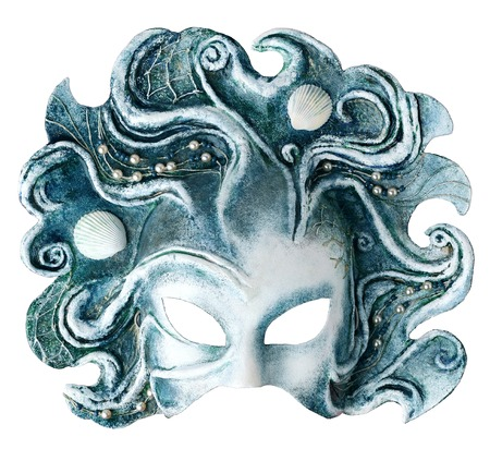 papiermache: Venetian Interior and carnaval mask embodying the element of water, isolated on white  background.  Handmade Papier-mache with acrylic paints,  plaster, lacquer, shells, beads, thread. Stock Photo
