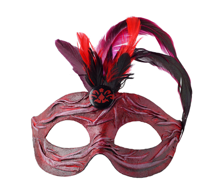 papier mache: Red Carnival Venetian half mask with feathers, isolated on white background.  Handmade papier mache, acrylic paints, cloth and feathers.