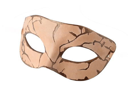 masquerade mask: Leather Carnival half mask handmade. Steampunk or Dieselpunk style. Made on plastic base with leather, acrylic paints and accessories.  Isolated on white background