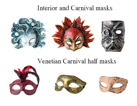 papier mache: Set of 6 Interior and carnaval masks. Handmade papier mache, acrylic paints and accessories.  Isolated on white background