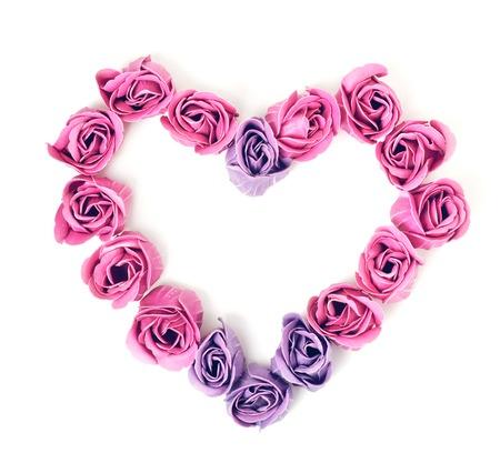 rose quartz: SOAP roses in form of heart. Rose Quartz color Stock Photo