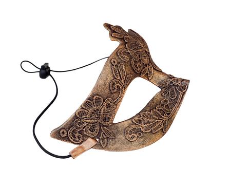 papier mache: Bronze Venetian Carnival half mask handmade. Made papier mache, acrylic paints and lace
