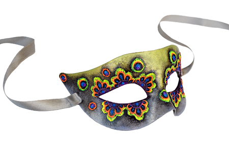 papier mache: Multicolor Venetian Carnival half mask with ribbon. Made papier mache, acrylic paints and embroidery