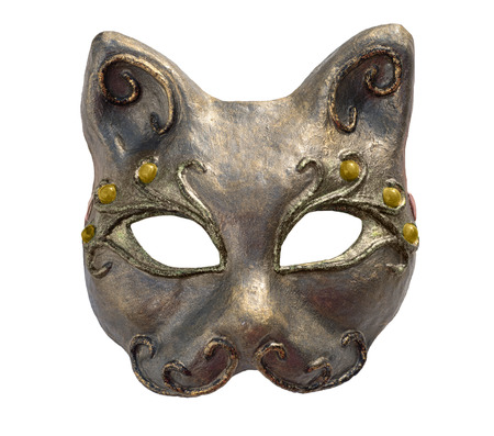 Interior and carnaval mask of cat, isolated on white. Papier-mache with acrylic paints, plaster, lacquer Stock Photo