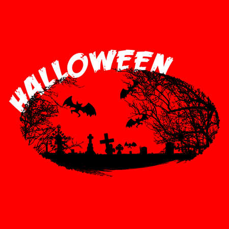Halloween logo, sign, cemetery, crosses, bats. Symbol for posters, posters, t-shirts Vectores