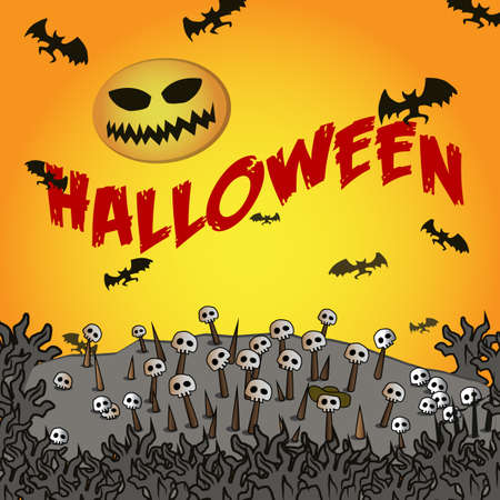 Halloween logo, sign, cemetery, skulls on sticks, bats. Symbol for posters, posters, t-shirts Çizim
