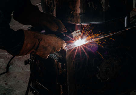Spot welding of a metal product in a locksmith workshop