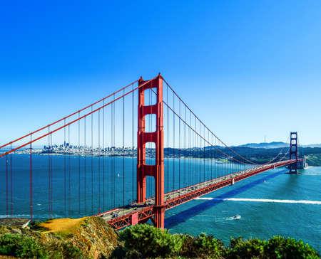 Red long bridge over the sea bay. The Golden Gate, San Francisco