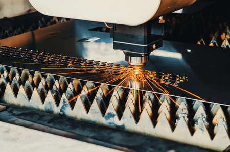 High precision CNC laser cutting metal sheet. Zdjęcie Seryjne