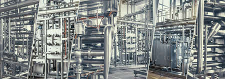 Oil and gas industry. Pipelines and plumbing systems at the food industry plant. Banner