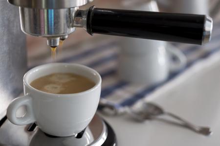 steel. milk: Professional coffee machine making espresso Stock Photo
