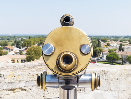 A Coin-operated viewfinder at a lookout in France Stok Fotoğraf