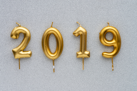 Marry Christmas and happy New Year 2019 layout. Gold candles numbers 2019