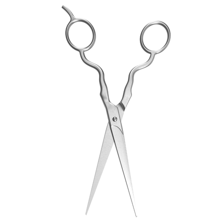 haircutting: 3d model of Professional Haircutting Metal Scissors on white background Stock Photo