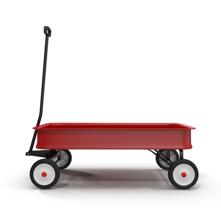 Childs red wagon with reflection on white background