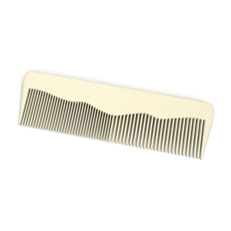 long handled: Hair comb isolated on white background. Macro