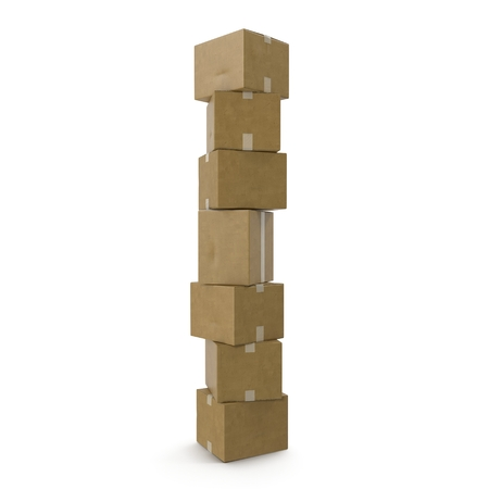 shipped: Stacks of cardboard boxes isolated on white background. Stock Photo