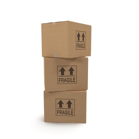 stockpile: Stacks of cardboard boxes isolated on white background. Stock Photo