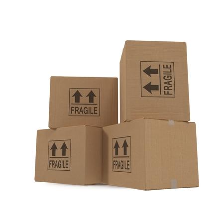 boite carton: Les piles de boîtes en carton isolé sur fond blanc. Banque d'images