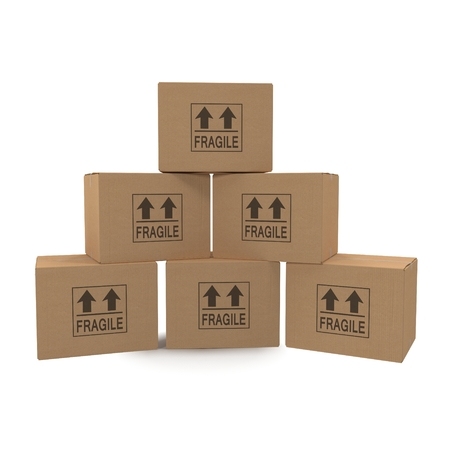 stockpiling: Stacks of cardboard boxes isolated on white background. Stock Photo